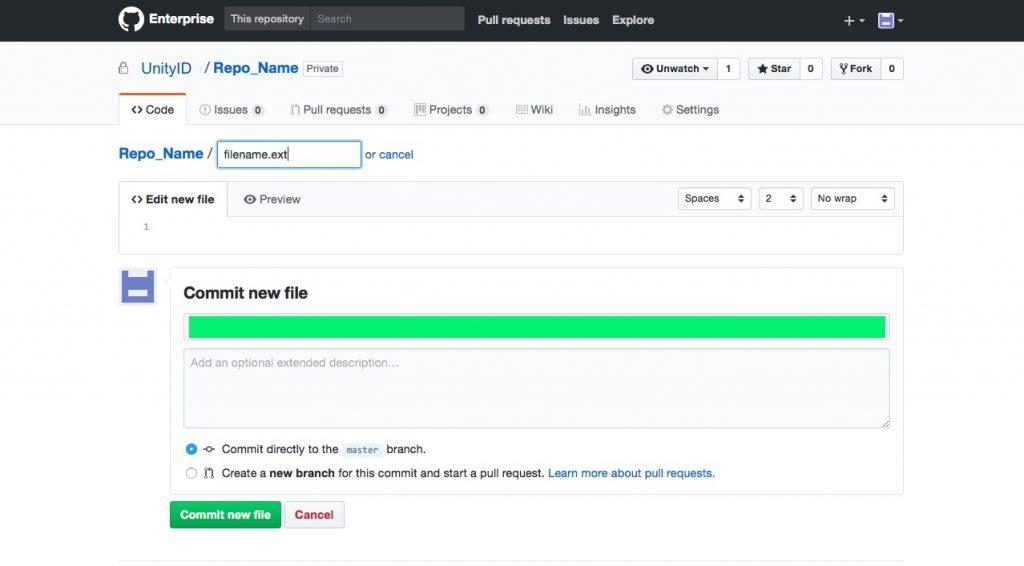 Commiting a file through GIthub's web GUI